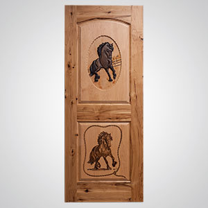 ... Interior Door; Neuenschwander Hickory 2 Maple Raised Panels Arch Top  Hand Carved Horse Laser Etched Horse Scene Interior ...