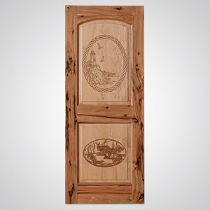 ... Neuenschwander Hickory 2 Maple Raised Panels Arch Top Laser Etched  Lighthouse Fishing Scenes Interior Door ...